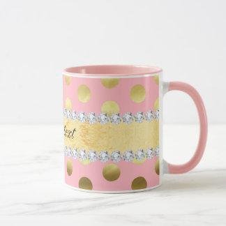 Taza Diamantes rosados de los lunares de la hoja de oro