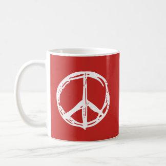 Taza dibujada mano del signo de la paz