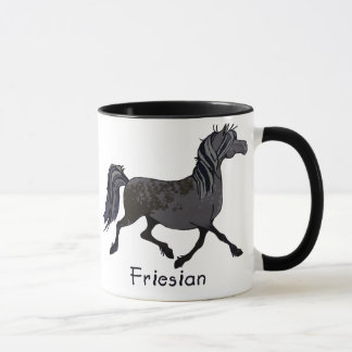 Taza Dibujo animado frisio del caballo