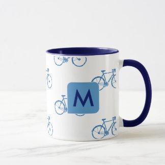Taza diseñe sus propias azul-bicis frescas iniciales