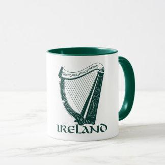 Taza Diseño de la arpa de Irlanda, arpa irlandesa