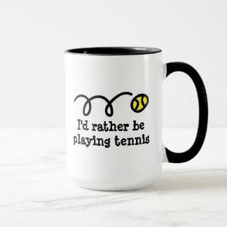 Taza divertida para el jugador de tenis