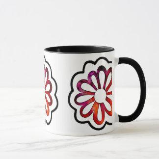 Taza Doodle caprichoso del flower power