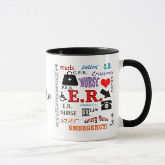 Taza E.R. Nube Enfermera-Colorida de la palabra