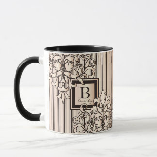 Taza El damasco del cuarzo color de rosa raya neutral