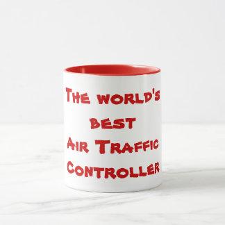 Taza El mejor controlador aéreo del mundo en rojo