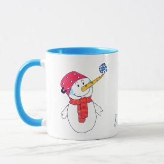 Taza El muñeco de nieve con un copo de nieve lo dejó