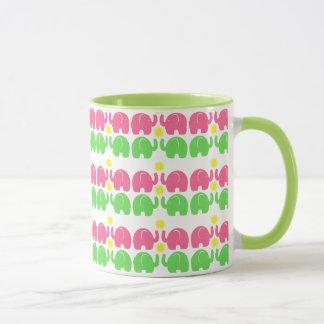 Taza Elefantes rosados y verdes con la flor