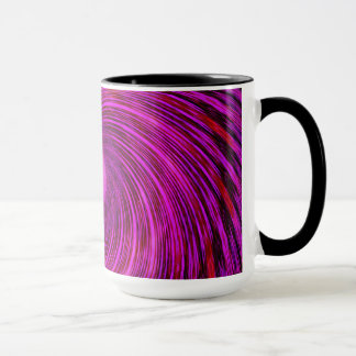 Taza espiral negra rosada del arte del