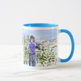 Taza esquí de allison de la enhorabuena