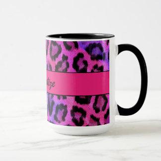 "Taza ""Estampado leopardo púrpura y rosado """