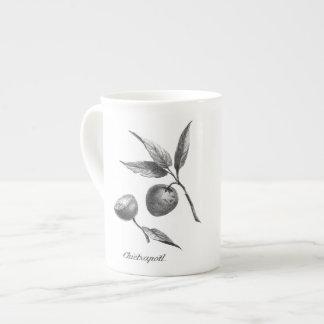 Taza exótica de la aguafuerte de la fruta del taza de porcelana