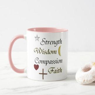 Taza Fe de la compasión de la sabiduría de la fuerza