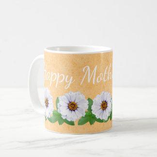 Taza feliz del jardín del Zinnia del día de madre
