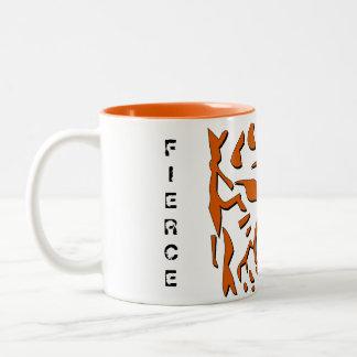 Taza feroz del tigre en naranja