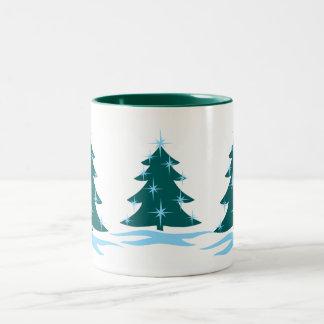 Taza festiva de ChristmasTree de la taza de café