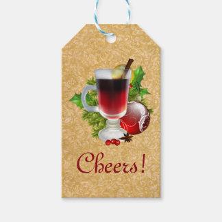 Taza festiva de las alegrías del navidad de vino etiquetas para regalos