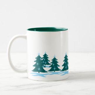 Taza festiva del árbol de navidad de la taza de