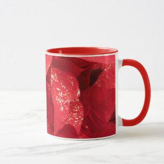 Taza Flor roja del navidad con el polvo de oro