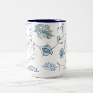 Taza floral azul
