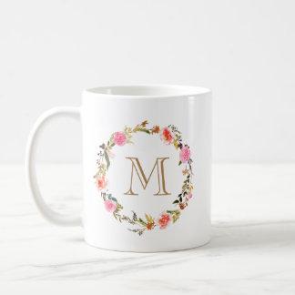 Taza floral de Coffe del monograma