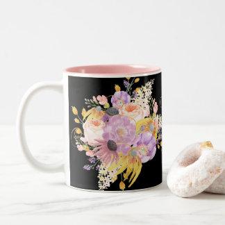 Taza floral de la acuarela colorida imponente para