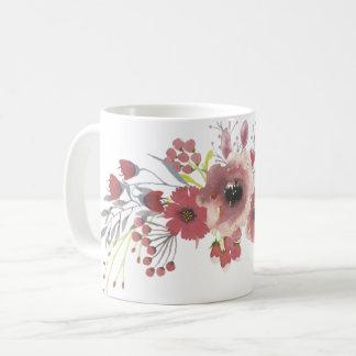 Taza floral de la acuarela simple