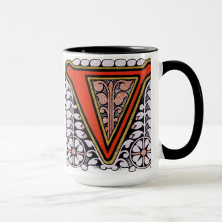 "Taza floral de ""V"" del vintage -"