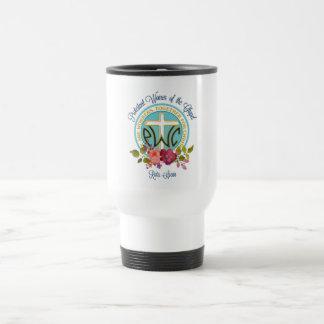 Taza floral del viaje del logotipo de PWOC