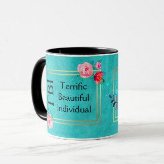 Taza Floral rosado individual hermoso fabuloso de TBI