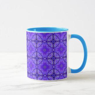 Taza Flores abstractas púrpuras, enrejado, edredón del