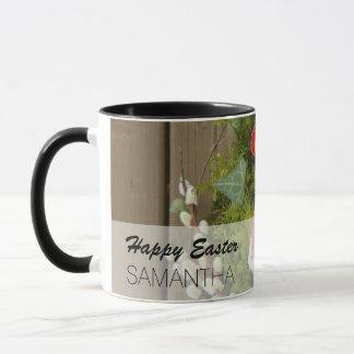 Taza Flores de la primavera y cesta de huevos de Pascua