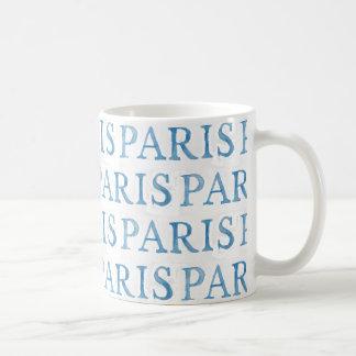 Taza francesa de la acuarela del texto de París