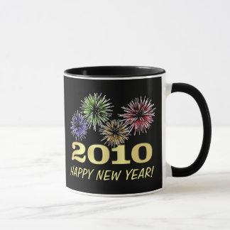 Taza Fuegos artificiales festivos de la Feliz Año Nuevo