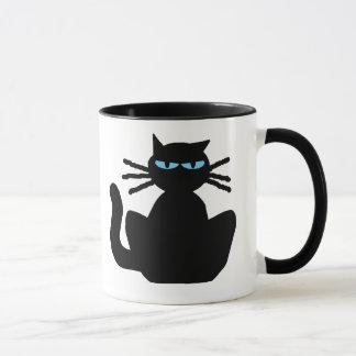 Taza Gato negro agujereado estropeado descarado con los