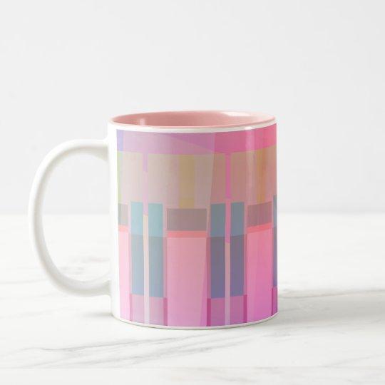 Taza geométrica abstracta rosada