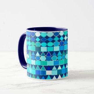 Taza Geométrico tribal moderno, azules del dril de