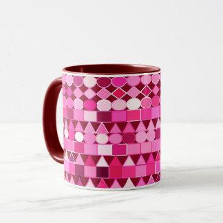 Taza Geométrico tribal moderno, Borgoña y rosa