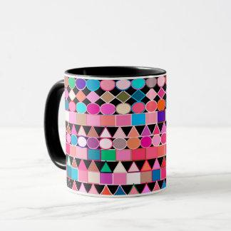 Taza Geométrico tribal moderno, colores de la joya en