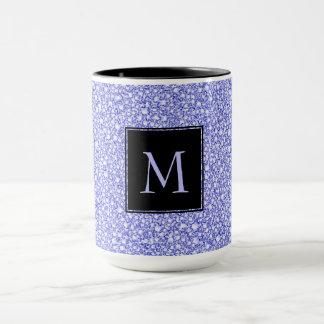 Taza Golpeteo azul encrustado del purpurina de la