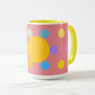 "Taza Grande Mug modelo 2 colores, rosa, ""Flor Pastel """