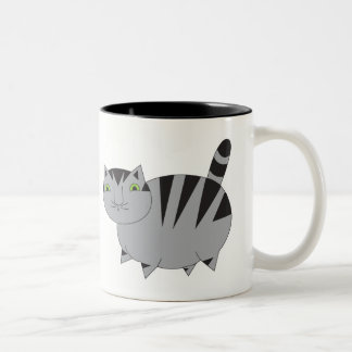 Taza gris gorda caprichosa del gato de Tabby