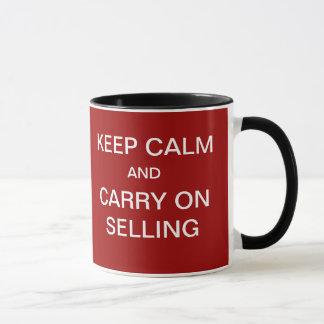 Taza … Guarde la calma para continuar el vender de lema