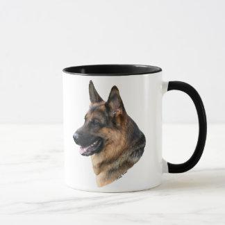 Taza headstudy del perro de pastor alemán