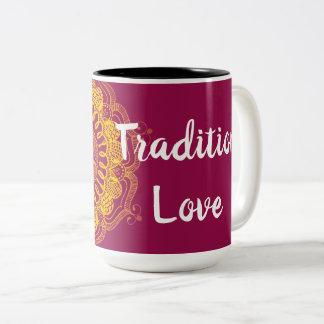 Taza hecha a mano de la mandala del amor de la