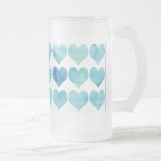 Taza helada corazones azules