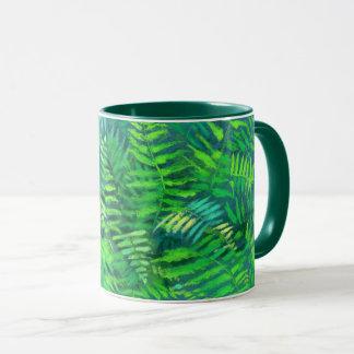 Taza Hojas del helecho, diseño floral, verdor, azul y