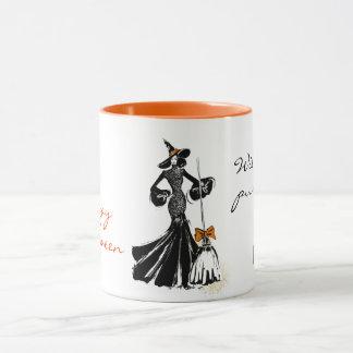 Taza ilustracion de la moda de Halloween con un cuervo