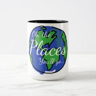 Taza inspirada, viaje, mundo