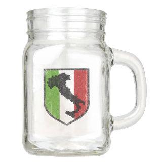Taza italiana del tarro de albañil del escudo de